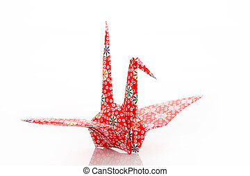 Origami bird on a white background