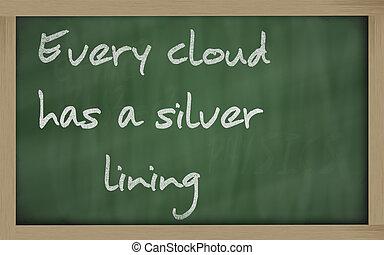 """"""" Every cloud has a silver lining """" written on a blackboard..."""