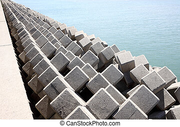 breakwater - Breakwater with concrete blocks for protection...
