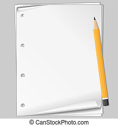 Paper and pencil, vector eps10 illustration transparent...
