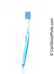 toothbrush - blue toothbrush on white background