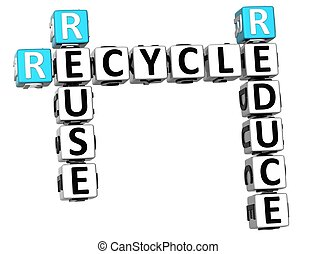 3D Reduce Reuse Recycle Crossword on white background