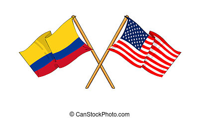 America and Colombia alliance and friendship - cartoon-like...