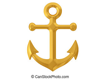 3d anchor - anchor isolated on white background