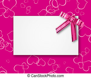 blank postcard tied with a bow of pink ribbon