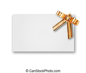 blank postcard tied with a bow of golden ribbon