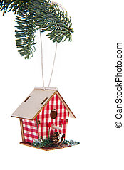 Hanging bird house - Hanging checked birdhouse in christmas...