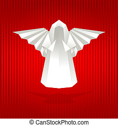 White origami angel - White origami angel on red background...