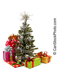 christmas tree - decorated Christmas fir tree with gifts\