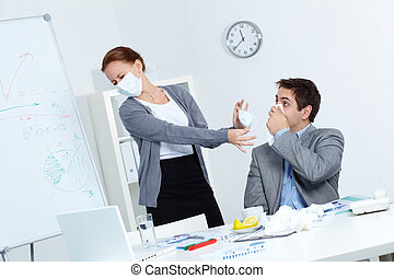 Protective measures - Image of businessman with handkerchief...