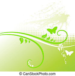 Green floral background. - Grunge floral backdrop. Vector...