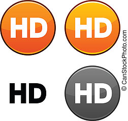 HD button. - HD round buttons. Black icon included.