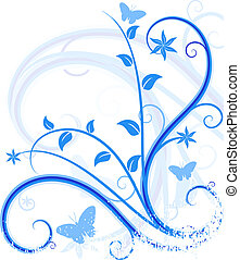 Blue floral background. - Grunge floral backdrop. Vector...