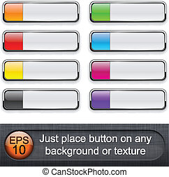 Rectangular glossy buttons - Eps10 vector Different blending...