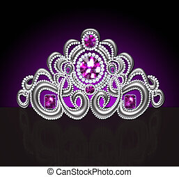 diadem feminine wedding with lilac stone - illustration...