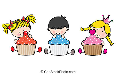 Children with colored cupcakes. illustration with white...