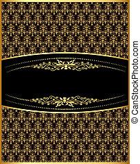 vertical vintage label with spiral gold(en) pattern -...