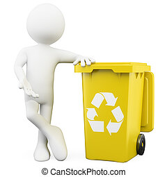 3D man showing a yellow bin for recycling. Rendered on a...