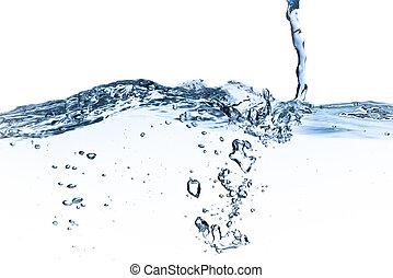 water splashing - splashing water with bubbles shot on white...