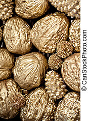golden walnuts texture