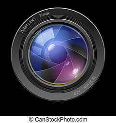 Photo lens Illustration on black background for design