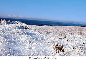 frosty snow covered grass field view