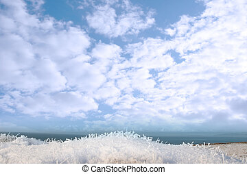 frosty snow covered grass ditch view