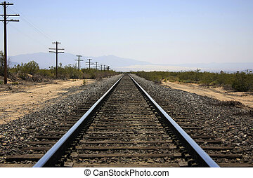 Railroads - Railroad in the desert  with vanishing point