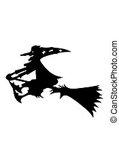 Witch flying on a broomstick isolated on white background