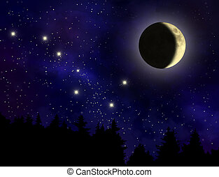 Abstract night sky with moon - Abstract night sky with...