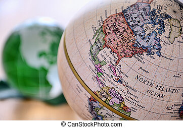 Globe (North America). A globe is photoed by close-up.
