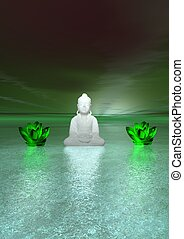 buddha and water lily - buddha white and water lily