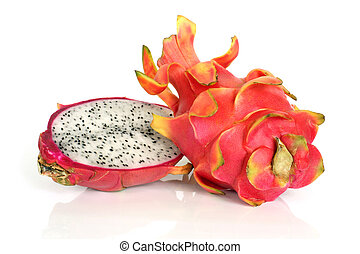 Pitaya - dragon fruit on a white background
