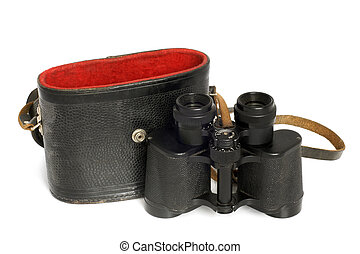 Old binoculars and leather case