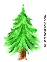 aquarela, Natal, árvore