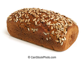 Rye bread with sunflower seeds on a white background