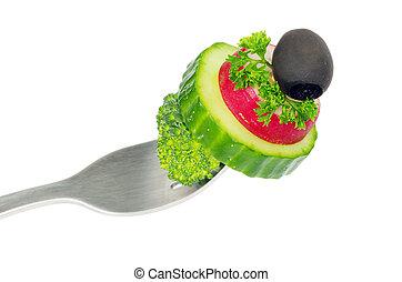 叉子, 蔬菜