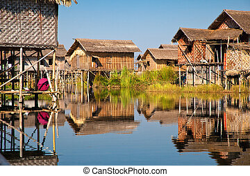 Floating village in Inle lake, Myanmar
