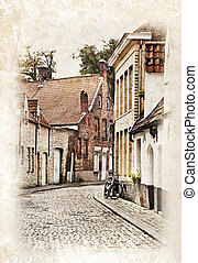 Streets of Brugge, Belgium - Cityscape of Bruges streets...