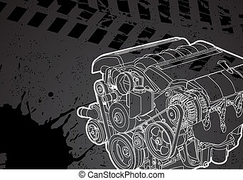 Vector engine - Vectro illustration of a engine on dark...