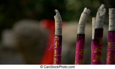 Smoke-filled burning incense - moke-filled burning incense