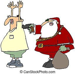 Bad Santa - This illustration depicts Santa Claus holding up...