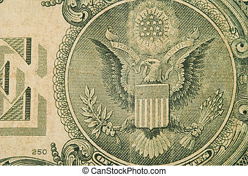 Macro Detail Of An Old One Dollar Bill