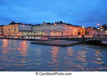 December dusk in Helsinki - December rainy dusk in Helsinki,...