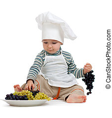 kitchen boy with pan over white background