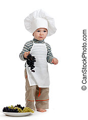 kitchen boy with pan over white background - child weared as...