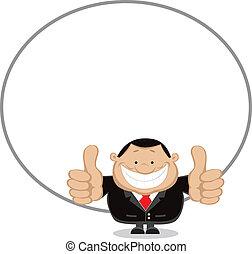Successful businessman - Cartoon smiling businessman with...
