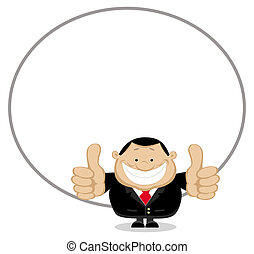 Smiling businessman with copy space showing thumbs up Vector...