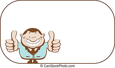 Successful businessman - Cartoon smiling businessman with...