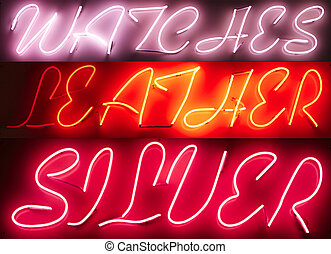 Neon Light Sign Advertisement: watches, leather, silver